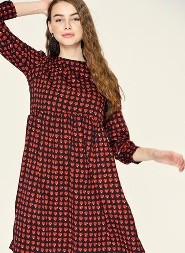 Loves You Kalp Desenli Şifon Elbise Siyah